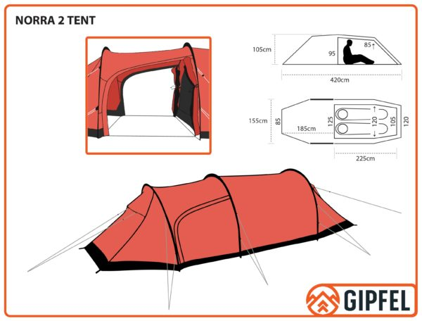 Schematic Drawing of Gipfel Norra 2 tent