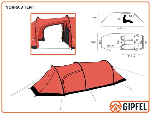 Schematic Drawing of Gipfel Norra 3 tent